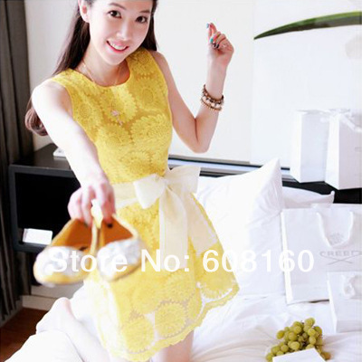 2013-New-Style-Sleeveless-Slim-Fit-Lace-Solid-Yellow-Sunflower-O-neck-Big-Bow-Tank-Above
