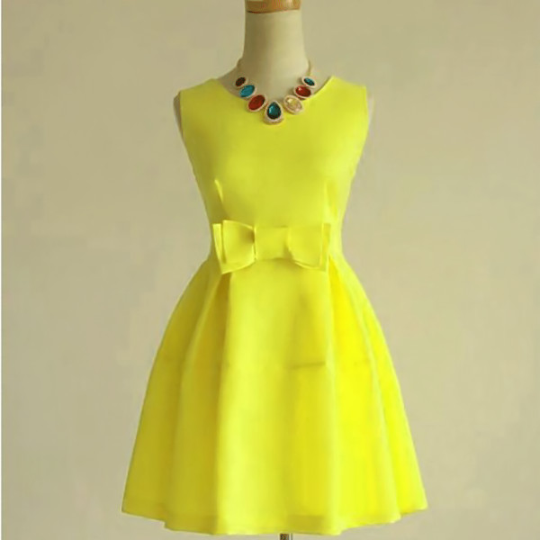 2013-summer-bow-slim-waist-sleeveless-princess-one-piece-dress-tank-dress-yellow