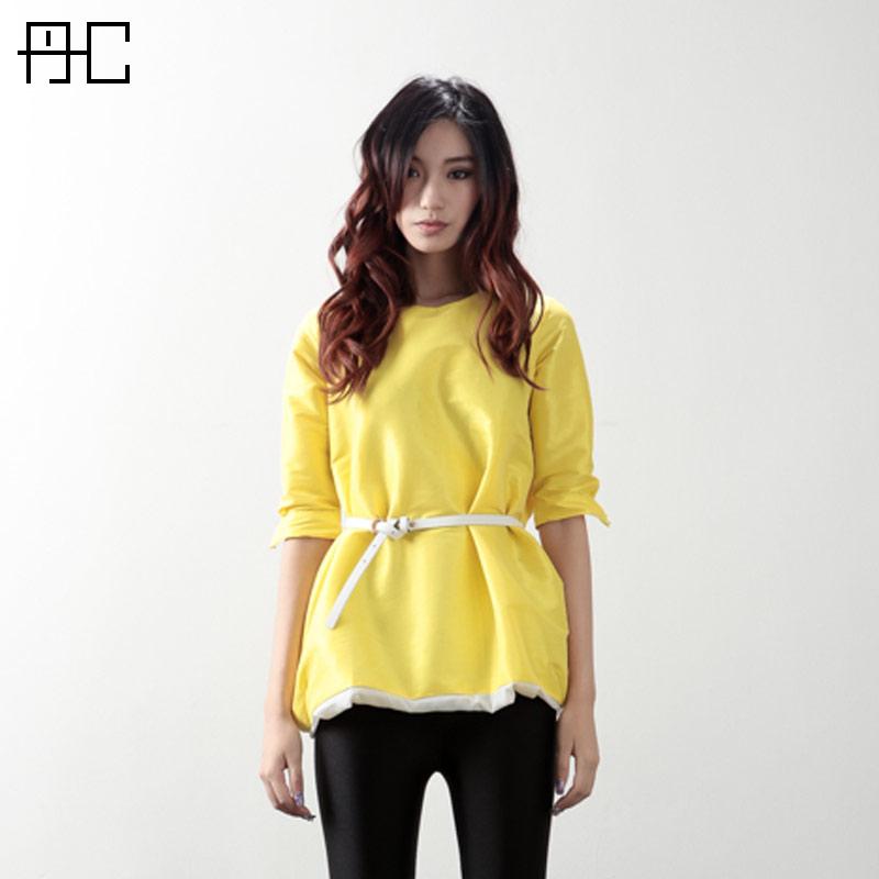 B31-2013-women-s-spring-skirt-yellow-one-piece-dress-pullover-half-sleeve-doll-miniskirt