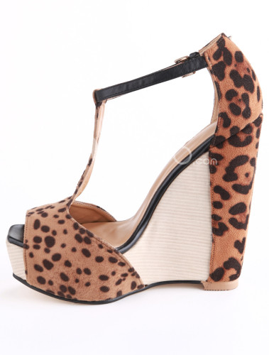 Brown-Leopard-Print-T-Strap-Peep-Toe-Horse-Hair-Woman-s-Wedge-Shoes-203520-3