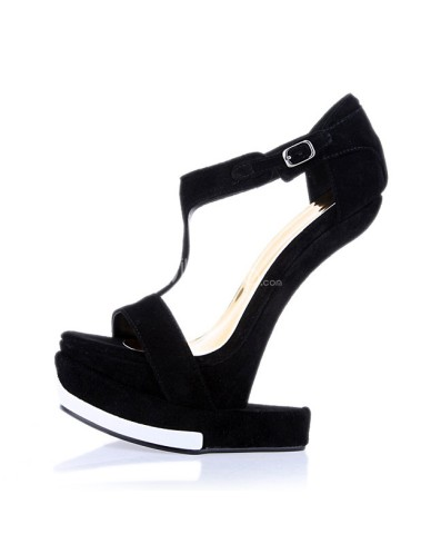 Chic-Black-Open-Toe-Heelless-T-Strap-Women-s-Wedge-Shoes-252030-0