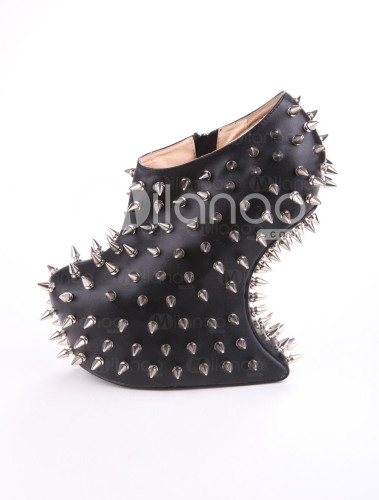 Cool-Modern-Black-Polyester-Spikes-Decoration-Women-s-Wedge-Booties-183176-0