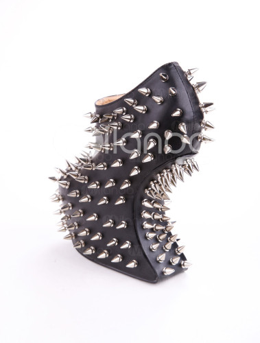 Cool-Modern-Black-Polyester-Spikes-Decoration-Women-s-Wedge-Booties-183176-1