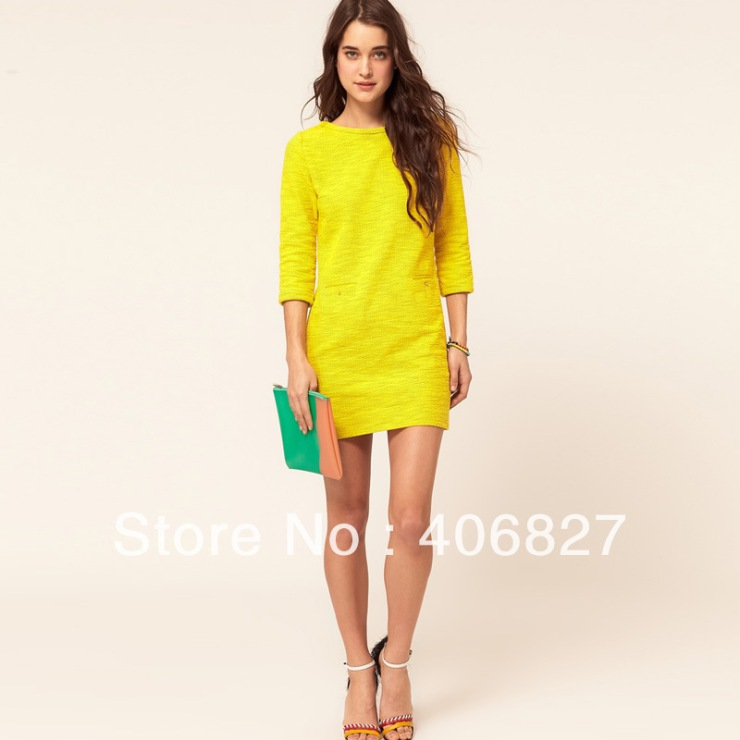 Europe-and-United-States-loose-dresses-yellow-sleeve-dress-wild-ladies-skirt-FREE-SHIPPING-6156a001