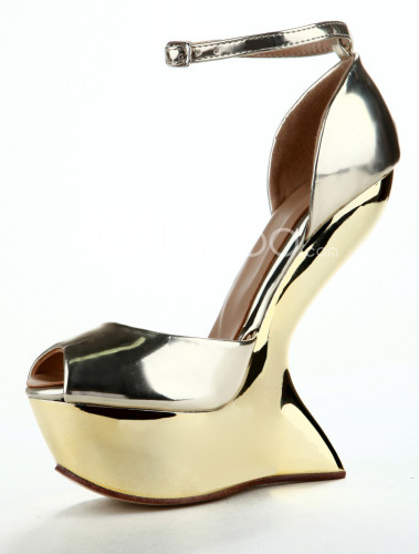 Gold-Peep-Toe-Special-Shaped-Heel-Ankle-Strap-Patent-Leather-Womens-Sandals-158986-0