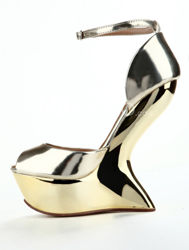 Gold-Peep-Toe-Special-Shaped-Heel-Ankle-Strap-Patent-Leather-Womens-Sandals-158986-1