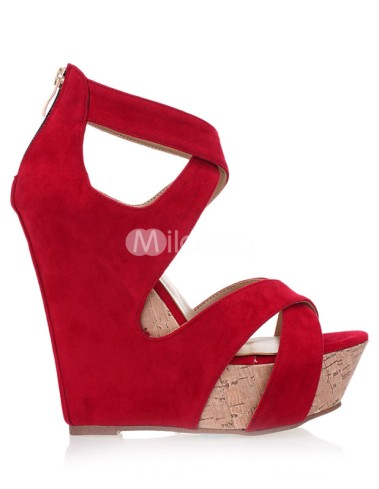 Red-Open-Toe-Zipper-Nubuck-Woman-s-Wedge-Shoes-213100-1