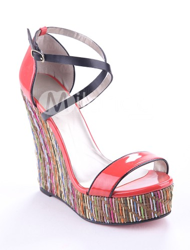 Watermelon-Red-Cow-Leather-Criss-Cross-Ankle-Strap-Women-s-Wedge-Sandals-162150-0