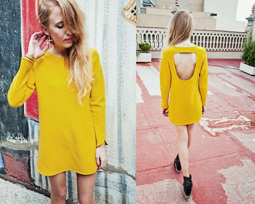 Wow-Yellow-Casual-Dress-Backless-Hole-Long-Sleeves-Jersey-Bright-Color-Brand-Dresses-Evening-Event-Party
